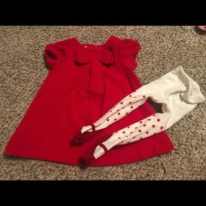 Nursery Rhymes 12 mo holiday cord dress & tights